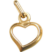 Vintage 14k Gold Heart Outline Charm