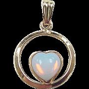 Vintage 14k Gold White Opal Heart Pendant