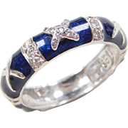 Hidalgo DESIGNER 18k White Gold Blue Enamel and Diamond Ring