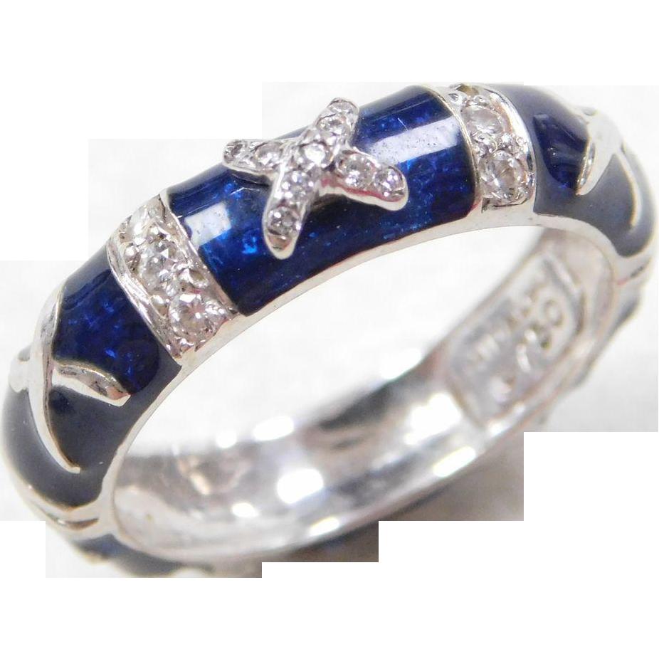 Hidalgo Designer 18k White Gold Blue Enamel And Diamond