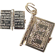 Vintage 14k Gold Opening Holy Bible Lords Prayer Charm