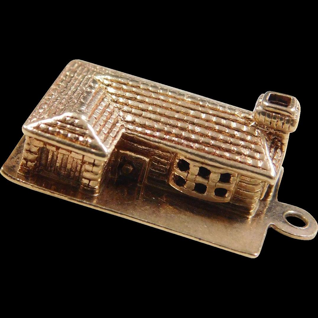 vintage 14k gold house cabin charm from arnoldjewelers