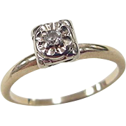 Vintage 14k Gold Two-Tone Illusion Head Diamond Engagement Ring