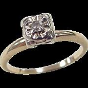 Vintage 14k Gold Two-Tone Illusion Head Diamond Engagement Ring