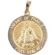 Vintage 14k Gold Infant of Prague Pray for Us Charm ~ Religious Medallion