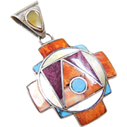 Sterling Silver Colorful Inlay Pendant