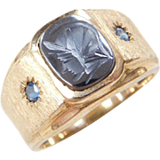Vintage 14k Gold Intaglio and Blue Topaz Ring