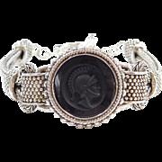 """Vintage Sterling Silver Intaglio Woven Bracelet ~ 8"""""""