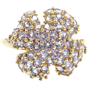 Vintage 10k Gold Iolite Lucky Four Leaf Clover Ring