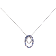 Vintage 10k White Gold .79 ctw Iolite and Diamond Necklace ~ 18""