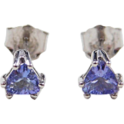 Vintage 14k White Gold .40 ctw Iolite Stud Earrings