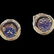 Vintage 14k Gold .46 ctw Iolite Stud Earrings