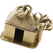 Vintage 14k Gold Island Hut Charm with Palm Tree