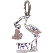 """Sterling Silver """"Its a Boy"""" Stork Baby Charm"""