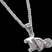 Vintage 14k White Gold .79 ctw Diamond I DO Necklace