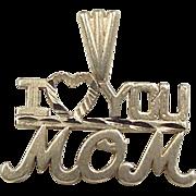 Vintage 14k Gold I Love You Mom Charm ~ Heart