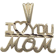 Vintage 14k Gold I Love You Mom Charm ~ Heart