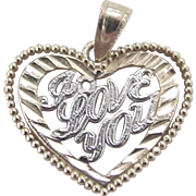 Vintage 14k Gold Two-Tone I LOVE YOU Heart Charm