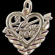 Vintage 14k Gold I LOVE YOU Heart Arrow Charm