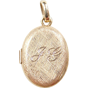 "Vintage 14k Gold ""J G"" Locket Charm / Pendant"