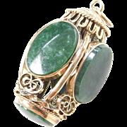 Vintage 14k Gold Big Jade Charm / Pendant