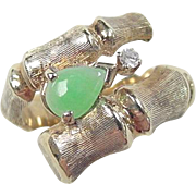 Vintage 14k Gold Jade and Diamond Bypass Bamboo Style Ring