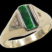 Vintage 14k Gold Jade and Diamond Ring