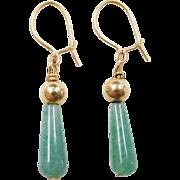 Vintage 14k Gold Jade Earrings