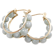 Vintage 14k Gold Jade Hoop Earrings