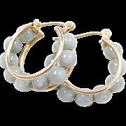 Vintage 14k Gold Jade Hoop Earrings