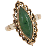 Vintage 14k Gold Jade Marquise Ring