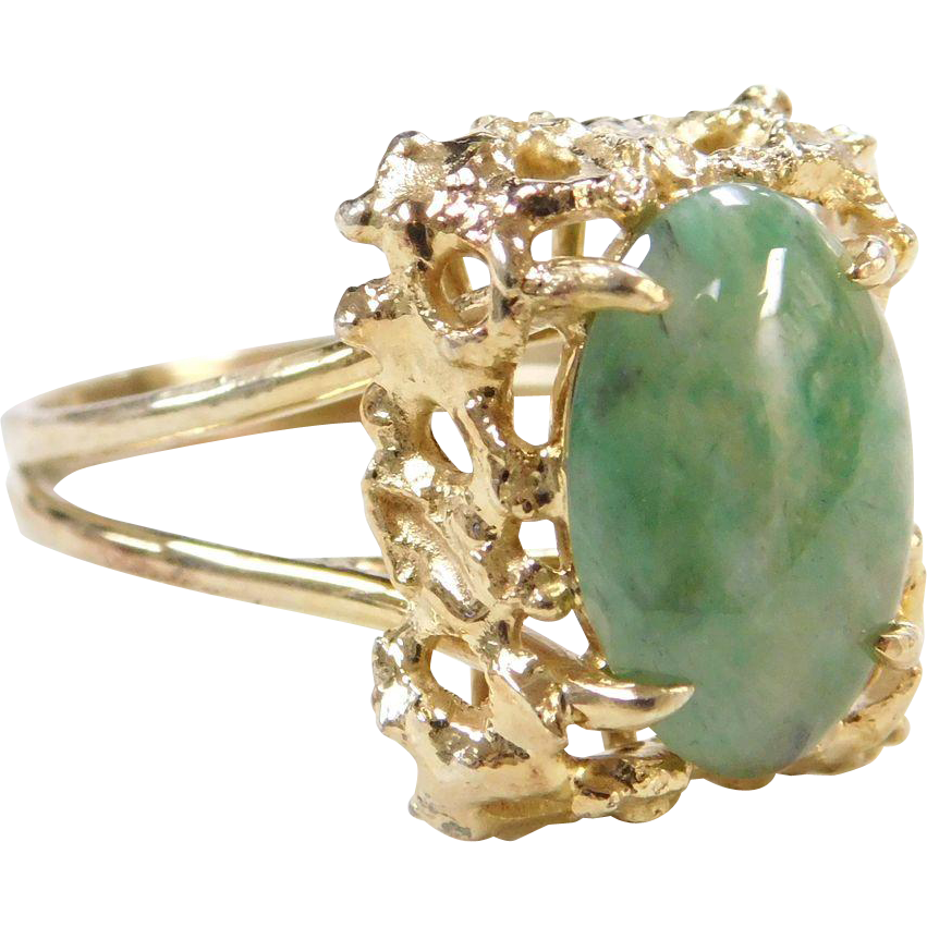 vintage 14k gold green jade ring from arnoldjewelers on. Black Bedroom Furniture Sets. Home Design Ideas