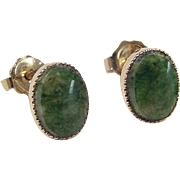 Vintage 14k Gold Jade Stud Earrings