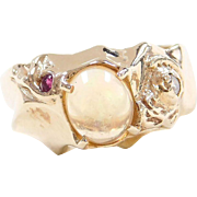 Vintage 14k Gold Jelly Opal, Ruby and Diamond Ring
