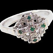 Vintage 18k White Gold Emerald and Diamond Crusaders Jerusalem Cross Ring