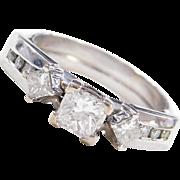 .84 ctw Princess Cut Diamond Engagement Ring 14k White Gold