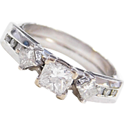 .84 ctw Princess Cut Diamond Engagement Ring 14k White Gold