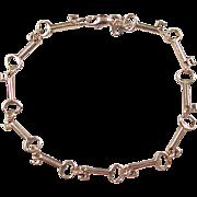"""Vintage 14k Gold Skeleton Key Bracelet ~ 7 1/8"""""""