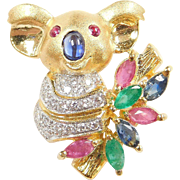 Adorable 18k Gold Koala Bear Pendant / Pin ~ 1.34 ctw Natural Ruby, Emerald, Sapphire and Diamond ~ Two-Tone