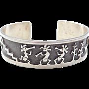 Vintage Sterling Silver Kokopelli Cuff Bracelet