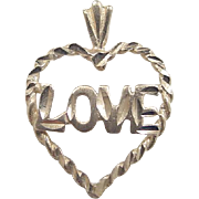 Vintage 14k Gold LOVE Heart Charm