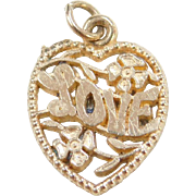 Vintage 14k LOVE Heart Charm with Flowers