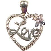 Vintage 14k Gold LOVE Heart with Tri-Color Flower Charm