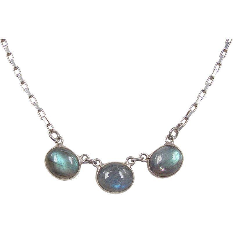 vintage sterling silver labradorite necklace 20 quot from
