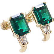 Vintage 10k Gold Lab Created Emerald and White Sapphire Earrings