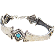 Sterling Silver Lab Created Opal Bracelet 7 1/4""