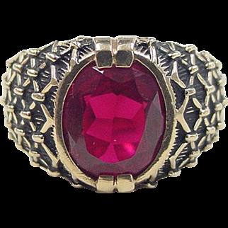 Gents Vintage  Ring Ruby 3.33 Carat Lab Grown 14K Gold circa 1980's