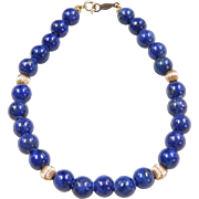 "Vintage 14k Gold Lapis Bead Bracelet ~ 7"""
