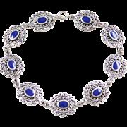 "Sterling Silver Ornate Lapis Bracelet ~ 7 1/2"""