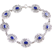 Sterling Silver Ornate Lapis Bracelet ~ 7 1/2""